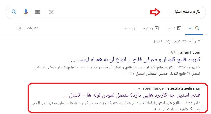 سئو سایت اتصالات استیل ایران در کلمه کاربر فلنج استیل