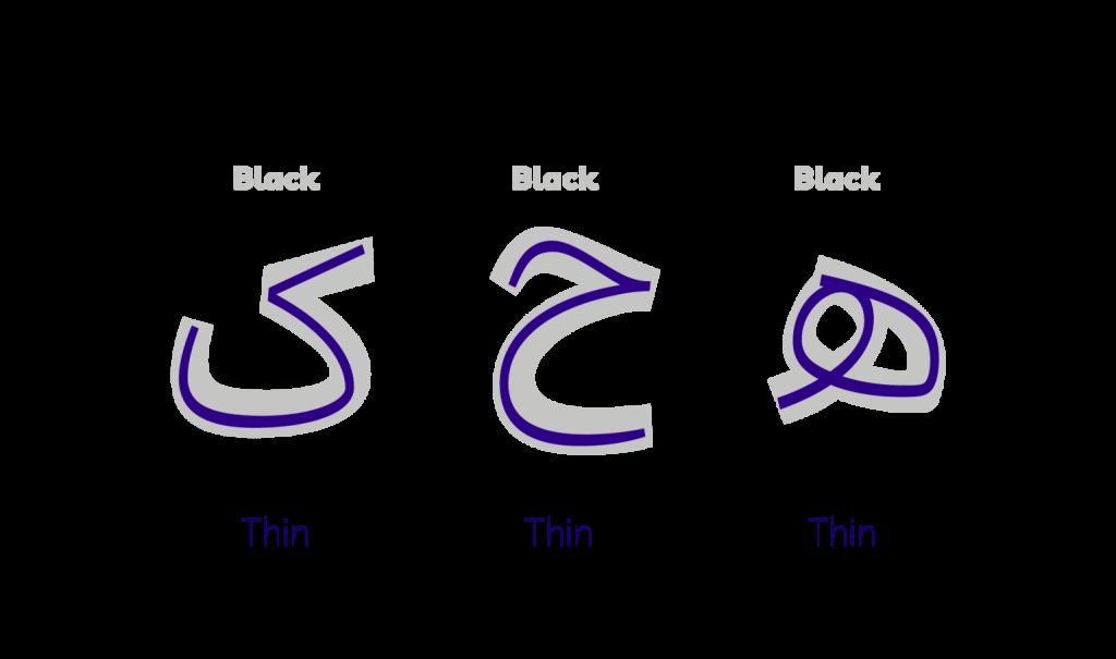 وزن های مختلف فونت پلاک